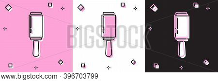 Set Adhesive Roller For Cleaning Clothes Icon Isolated On Pink And White, Black Background. Getting