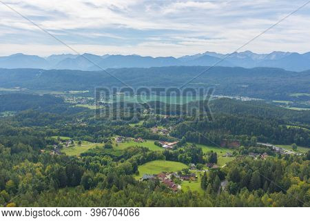 Charming Village Surrounded By Mountains, View From The Pyramidenkogel, The Highest Wooden Viewing T