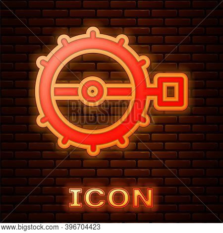 Glowing Neon Trap Hunting Icon Isolated On Brick Wall Background. Vector