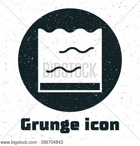 Grunge Aquarium Icon Isolated On White Background. Aquarium For Home And Pets. Monochrome Vintage Dr