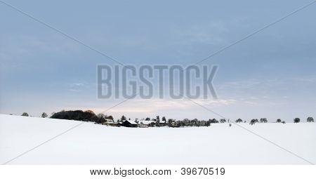 Panoramic Winter Scenery In Hohenlohe