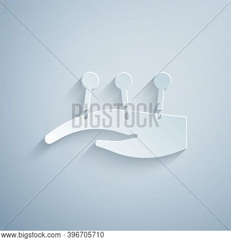 Paper Cut Acupuncture Therapy On The Hand Icon Isolated On Grey Background. Chinese Medicine. Holist