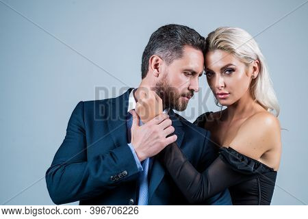 Lovely Evening. Sexy Couple In Love. Man Embrace Woman. Formal Couple. Confident Businessman With La