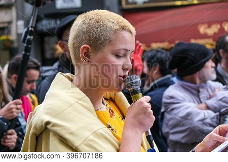 London, Uk - October 18, 2019: A Young Extinction Rebellion Activist Speaking At A Protest In London