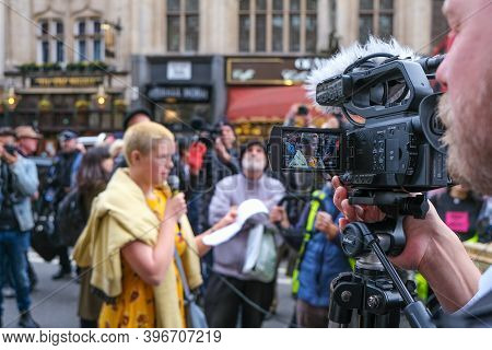 London, Uk - October 18, 2019: A Young Extinction Rebellion Activist Is Filmed While Speaking At A P
