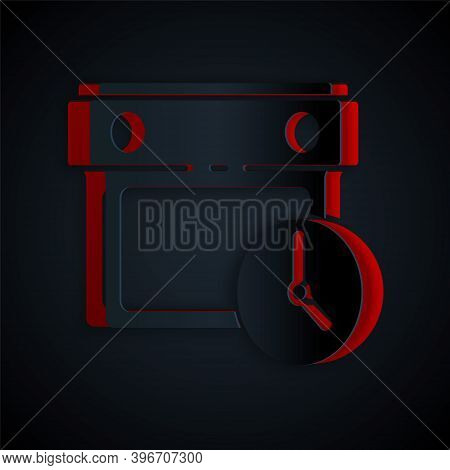 Paper Cut Calendar And Clock Icon Isolated On Black Background. Schedule, Appointment, Organizer, Ti