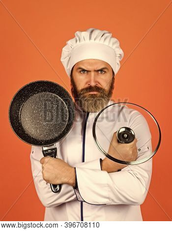 Regular Cooking. Preparing Food In Kitchen. Cooking Food Concept. High Quality Frying Pan. Bearded M