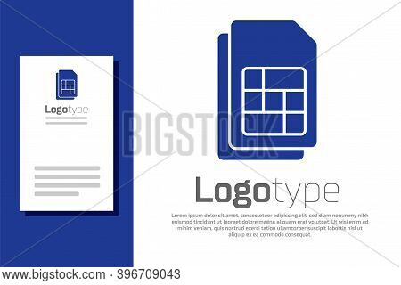 Blue Sim Card Icon Isolated On White Background. Mobile Cellular Phone Sim Card Chip. Mobile Telecom