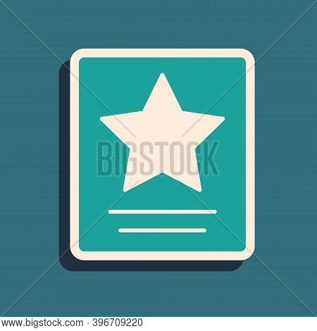 Green Hollywood Walk Of Fame Star On Celebrity Boulevard Icon Isolated On Green Background. Famous S