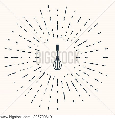 Grey Kitchen Whisk Icon Isolated On Beige Background. Cooking Utensil, Egg Beater. Cutlery Sign. Foo