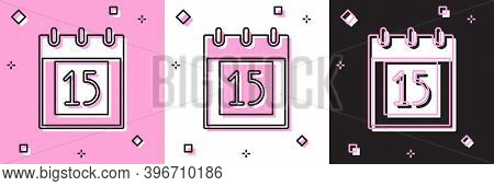 Set Happy Independence Day India Icon Isolated On Pink And White, Black Background. Flyer Design For