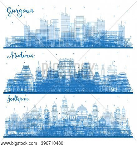 Outline Madurai, Jodhpur and Gurgaon India City Skyline Set with Blue Buildings.
