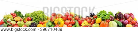 Wide panorama multi-colored fresh fruits and vegetables isolated on white background