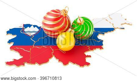 Slovenian Map With Colored Christmas Balls. New Year And Christmas Holidays Concept, 3d Rendering Is