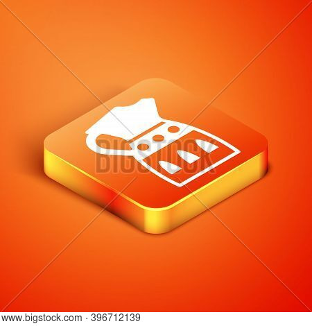 Isometric Sangria Pitcher Icon Isolated On Orange Background. Traditional Spanish Drink. Vector