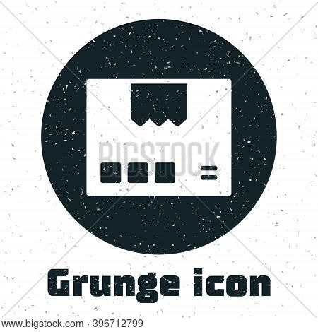 Grunge Carton Cardboard Box Icon Isolated On White Background. Box, Package, Parcel Sign. Delivery A