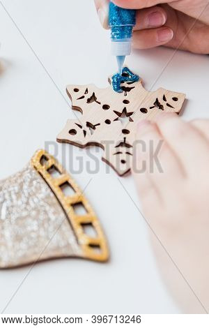 Making Handmade Christmas Decorations.kids Making Decor For Christmas Tree Or Gifts. Christmas Handm