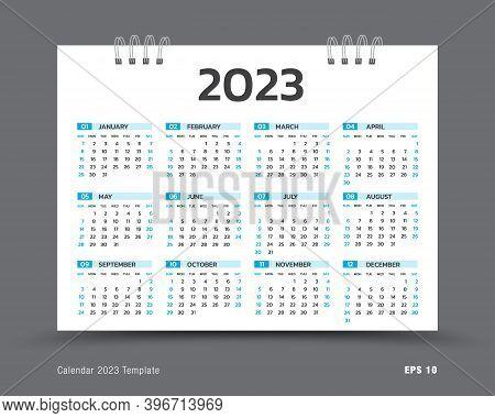 Calendar 2023 Template Layout, 12 Months Yearly Calendar Set In 2023, Business Brochure Flyer, Print