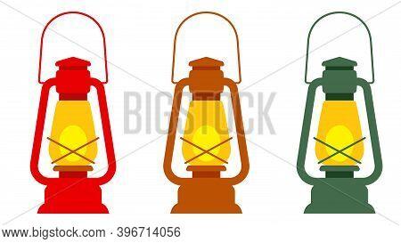 A Set Of Vintage Kerosene Lanterns In Different Colors. Vector Element, Template For The Design.
