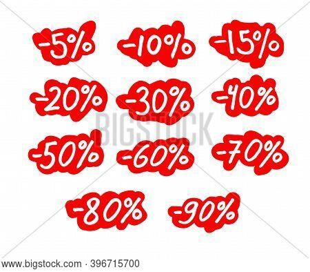 Discounts, Sale. Percentages From Five To Ninety, Freehand Drawing Style. Percentage -5, -10, -15, -
