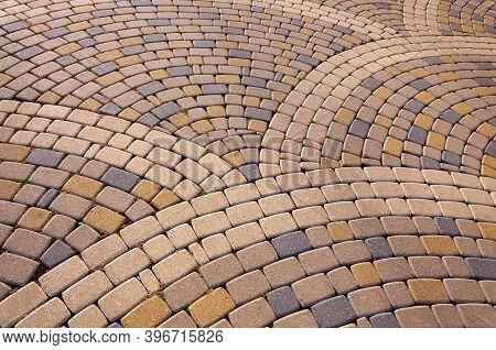 Cobblestone Arched Pavement Road, Paving In Cobblestones In A Square.