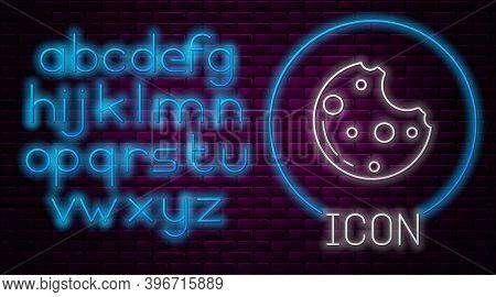 Glowing Neon Line Chocolate Cookies With Marijuana Leaf Icon Isolated On Brick Wall Background. Weed