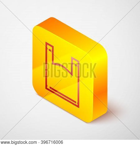 Isometric Line Plastic Bag Icon Isolated On Grey Background. Disposable Cellophane And Polythene Pac