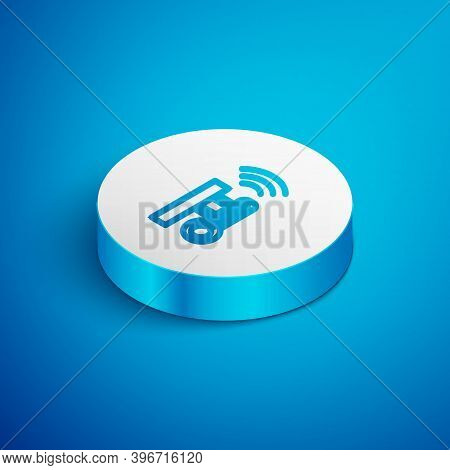 Isometric Line Smart Meteorology Thermometer Measuring System Icon Isolated On Blue Background. Inte