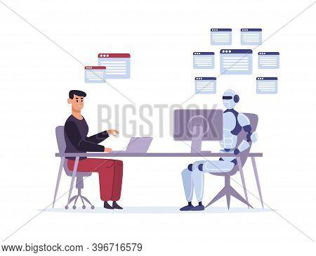 Robot Versus Human At Work. Multitasking Artificial Intelligence Doing Tasks At Computer. Ai Competi