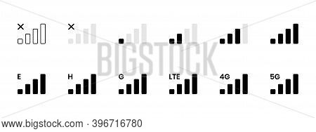Signal Reception Bar Collection Of Vector Illustration. Mobile Phone Connection Level Icons. No Sign