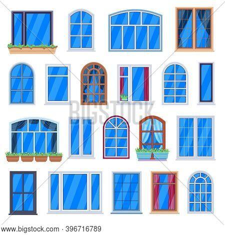 Window Frames. Wooden House Windows, Retro Room Window Frames, House Wall Plastic Windows. Architect