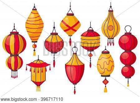 Oriental Traditional Lantern. Chinese Paper Lanterns, Asian Street Decoration, Chinatown Lanterns. T