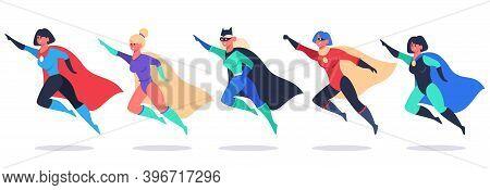 Superheroes Women. Wonder Female Characters, Super Girls In Superhero Waving Cloak Costume, Powerful