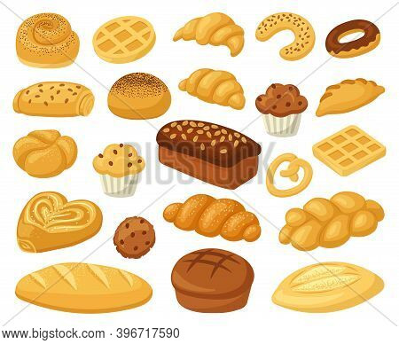 Cartoon Bakery Food. Pastry Products, Bread Loaf, French Baguette, And Croissant. Bakery Whole Grain
