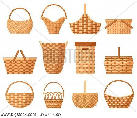 Wicker Decorative Basket. Traditional Picnic Willow Basket With Handle, Baskets For Outdoor Dining.