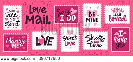 Love Mail Stamp. Hand Drawn Love Romantic Lettering For Valentines Day, Doodle Love Post Office. Lov