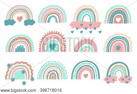 Cute Rainbows. Doodle Nursery Rainbow With Clouds, Childish Scandinavian Elements For Wrapping Or Fa