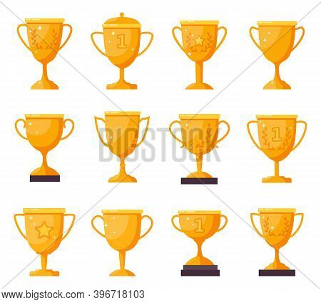 Champion Golden Cups. Gold Winner Trophy Goblets, Achievement Award Cups. Victory Golden Trophies An