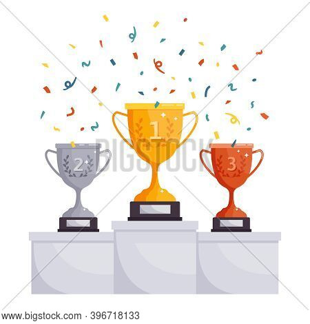 Winner Podium Cups. Gold, Silver, Bronze Rewards, Competition Trophy Cups, Achievement Award On Pede