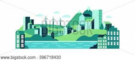 Eco Urban City Landscape With Buildings, Hills And Mountains. Ecological Sustainable Energy Supply W