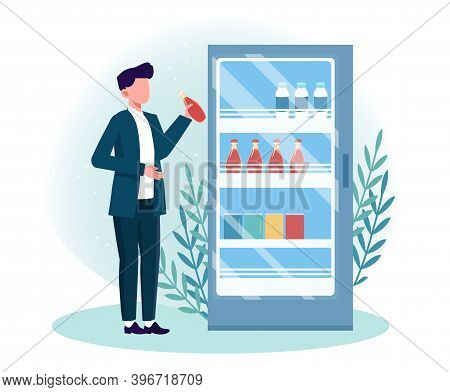 Man Getting Cold Drink From Fridge. Male Character Choose Different Beverages In Summer Time. Refrid