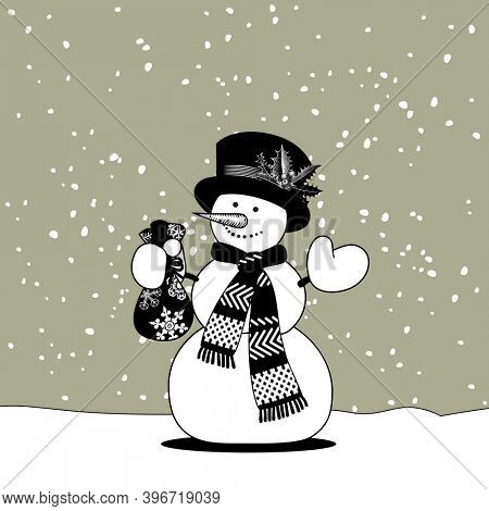 Snowman with a scarf and hat holding a gift bag in hand. Christmas and New-Year's greeting card in black and white colors