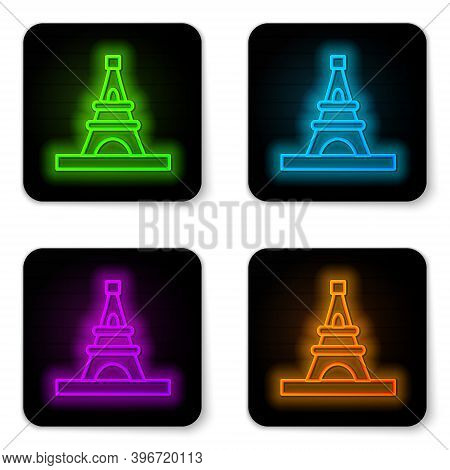 Glowing Neon Line Eiffel Tower Icon Isolated On White Background. France Paris Landmark Symbol. Blac