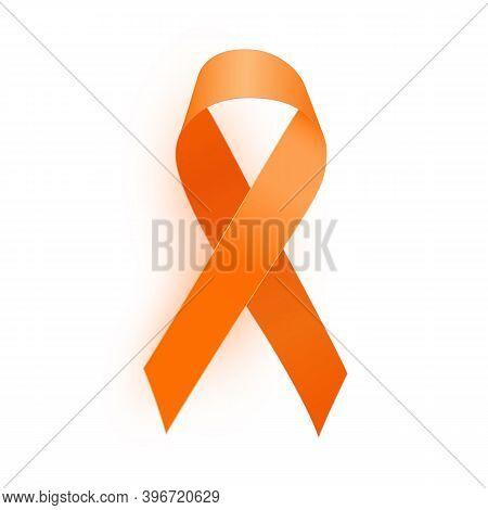 Orange Ribbon A Medical Symbol Of Leukemia. Vector Illustration