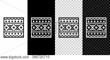 Set Line Ukrainian Ethnic Pattern For Embroidery Icon Isolated On Black And White Background. Tradit