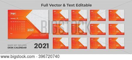 2021 Desk Calendar With Blue Layout,blue Desk Calendar 2021,new Desk Calendar 2021 Template - 12 Mon