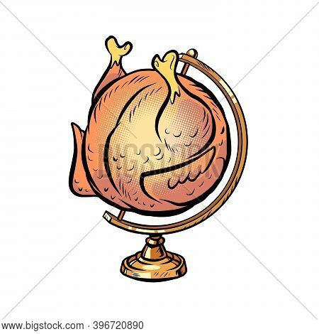 Globe International Grilled Chicken On A Spit Comics Illustration Drawing