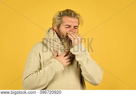 Hipster Fever. Immune Response. Bearded Man Sick. Warm Scarf Around Neck. Cold Flu Fever Concept. Bo