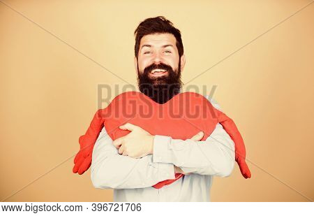 Guy With Beard And Mustache In Love Romantic Mood. Feeling Love. Dating And Relations Concept. Happy