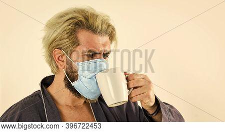 Morning At Home On Coronavirus Self Isolation. Pandemic Quarantine. Anti-virus Mask. Masks To Protec